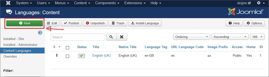 Add a content language to tell Joomla how to handle the second language