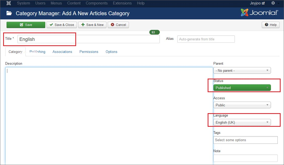 How to create a category for website content