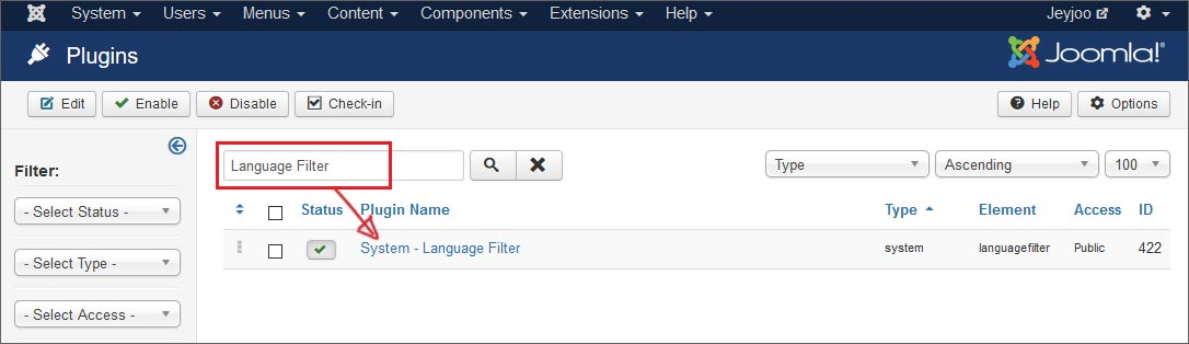How to enable the Joomla Language Filter Plugin