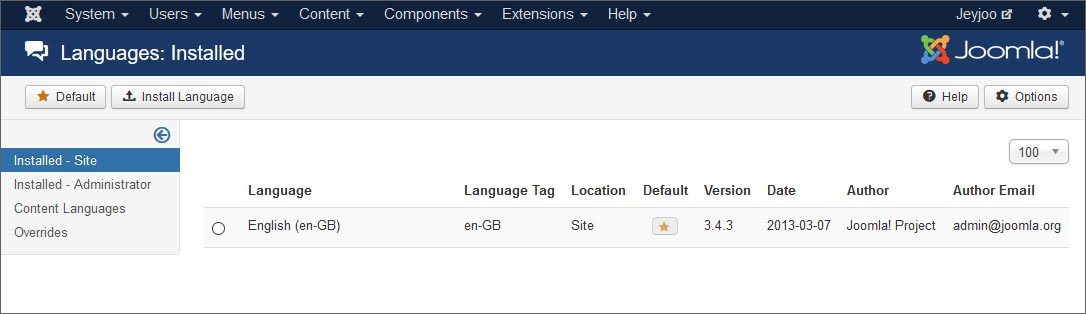 Step 1 - Check the default language installed with Joomla