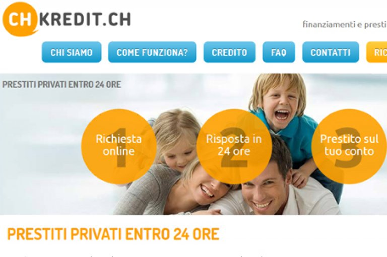 Website design for a personal loans company, Switzerland