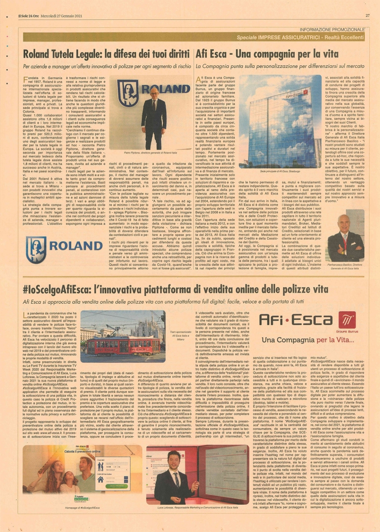 Web app featured on Il Sole 24 Ore